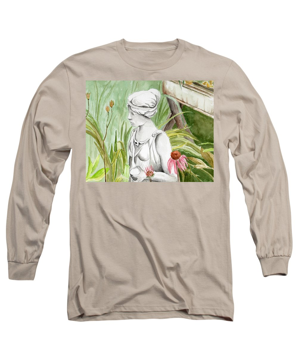Watercolor Scenery Color Rural Garden Statue Woman Gardening Plants Flower Green Long Sleeve T-Shirt featuring the painting Garden Beauty by Brenda Owen