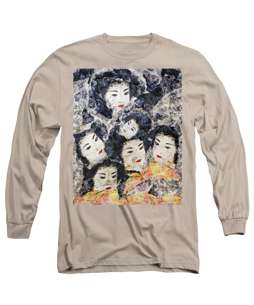 Geisha Long Sleeve T-Shirt featuring the mixed media Geisha by Shelley Jones