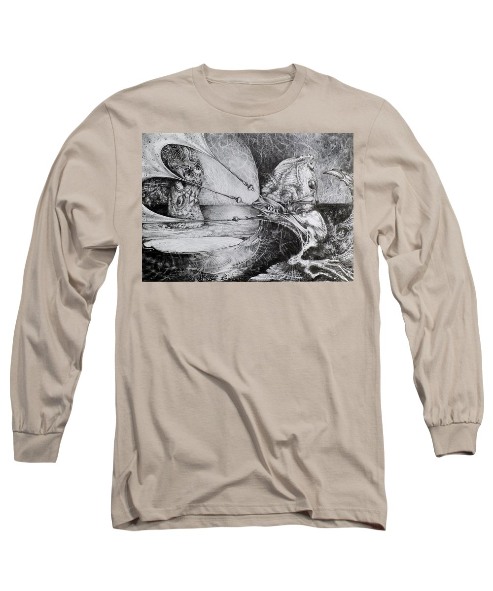 Surrealism Long Sleeve T-Shirt featuring the drawing General Peckerwood In Purgatory by Otto Rapp