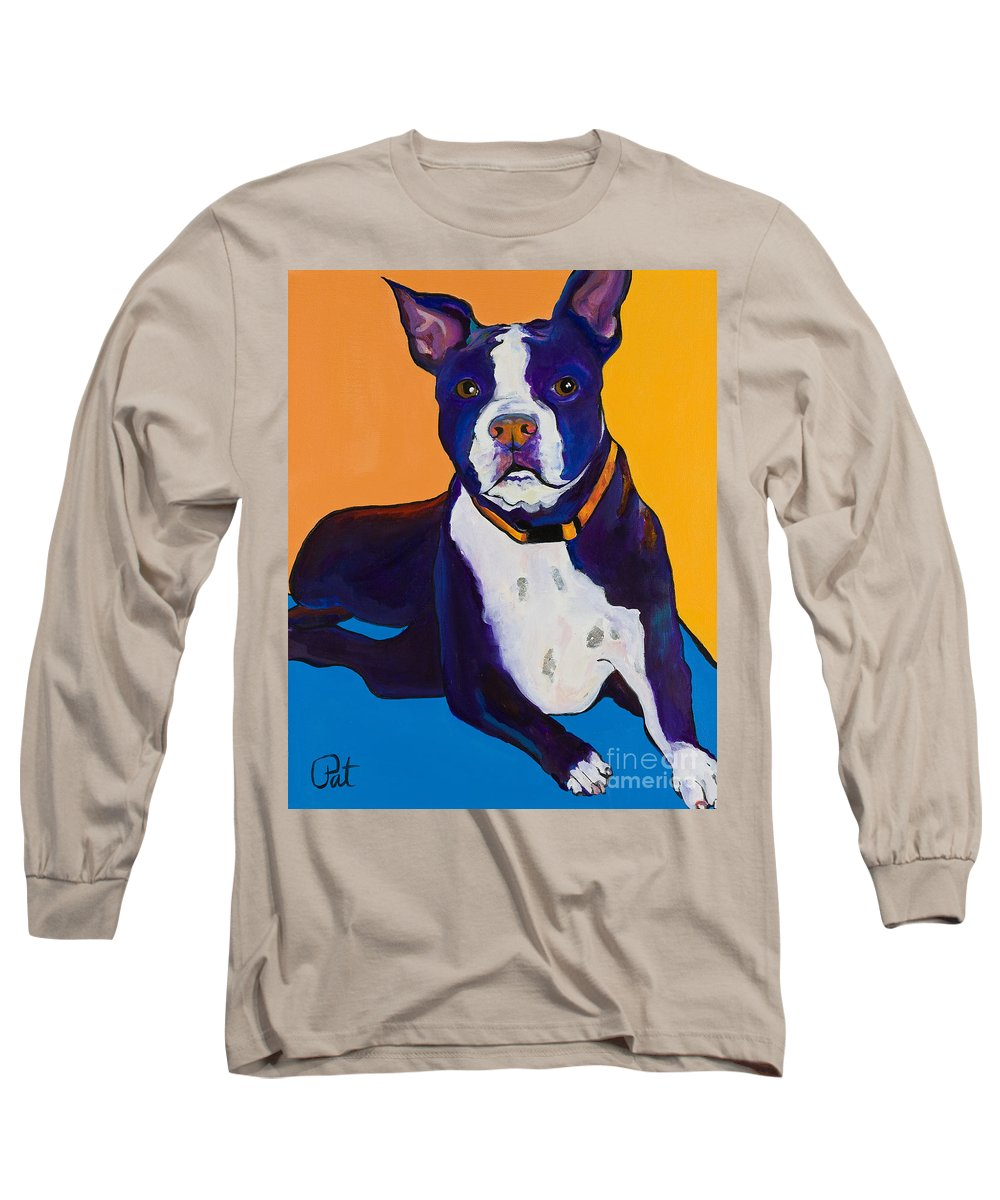 Boston Terrier Long Sleeve T-Shirt featuring the painting Georgie by Pat Saunders-White