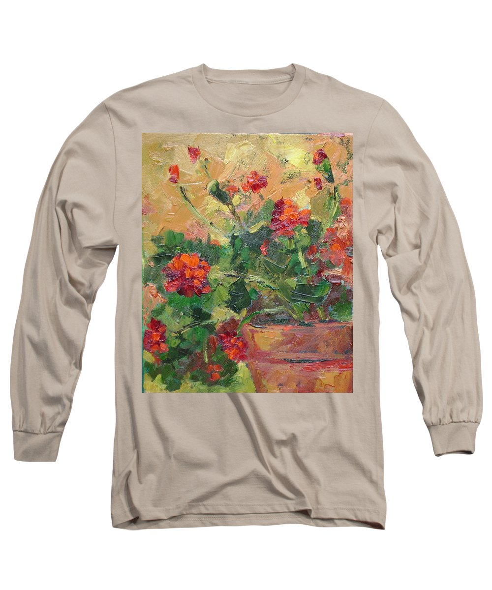 Geraniums Long Sleeve T-Shirt featuring the painting Geraniums II by Ginger Concepcion