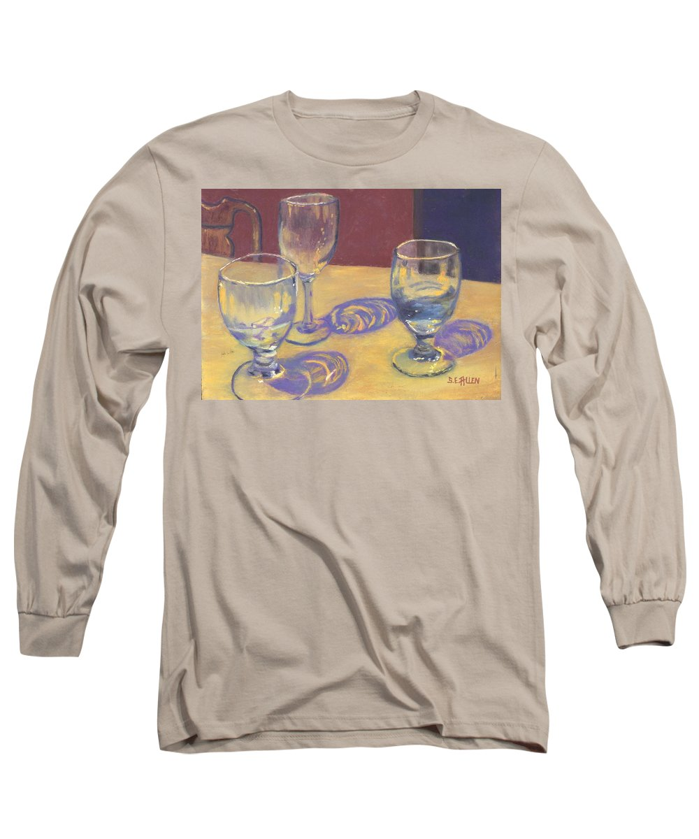 Glasses Long Sleeve T-Shirt featuring the painting Glasslights by Sharon E Allen