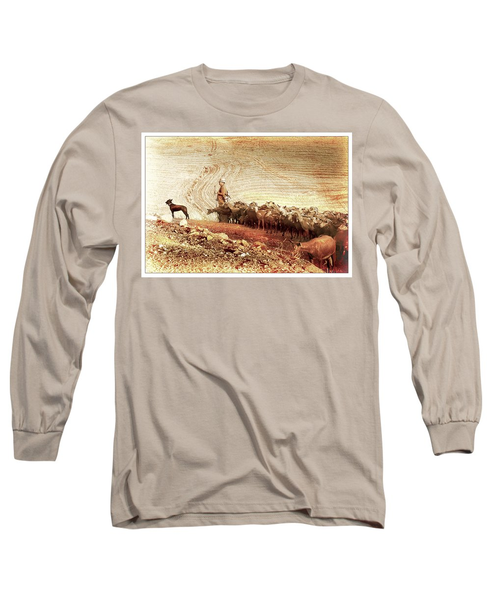 Goats Long Sleeve T-Shirt featuring the photograph Goatherd by Mal Bray