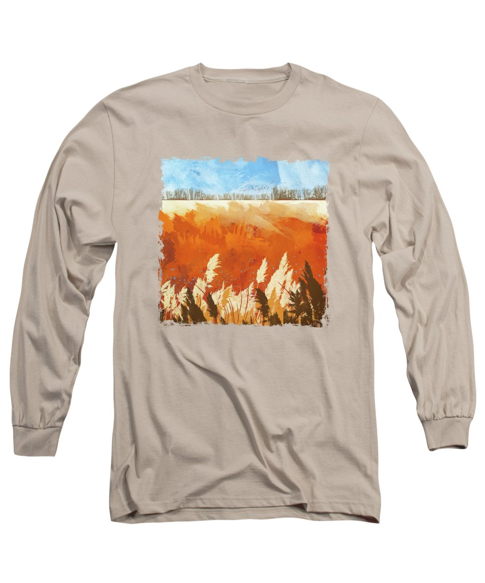 Gold Long Sleeve T-Shirt featuring the digital art Golden Afternoon by Katherine Smit