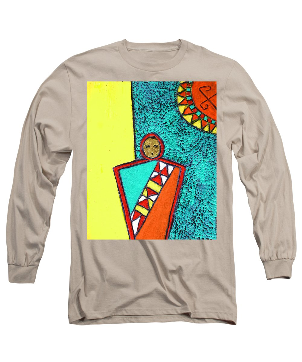 Southwest Long Sleeve T-Shirt featuring the painting Golden Child Of The South West by Wayne Potrafka