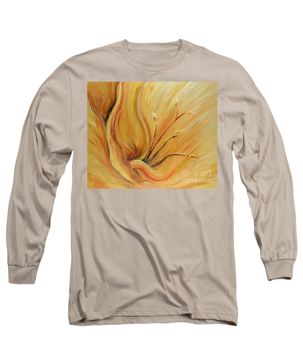 Gold Long Sleeve T-Shirt featuring the painting Golden Glow by Nadine Rippelmeyer