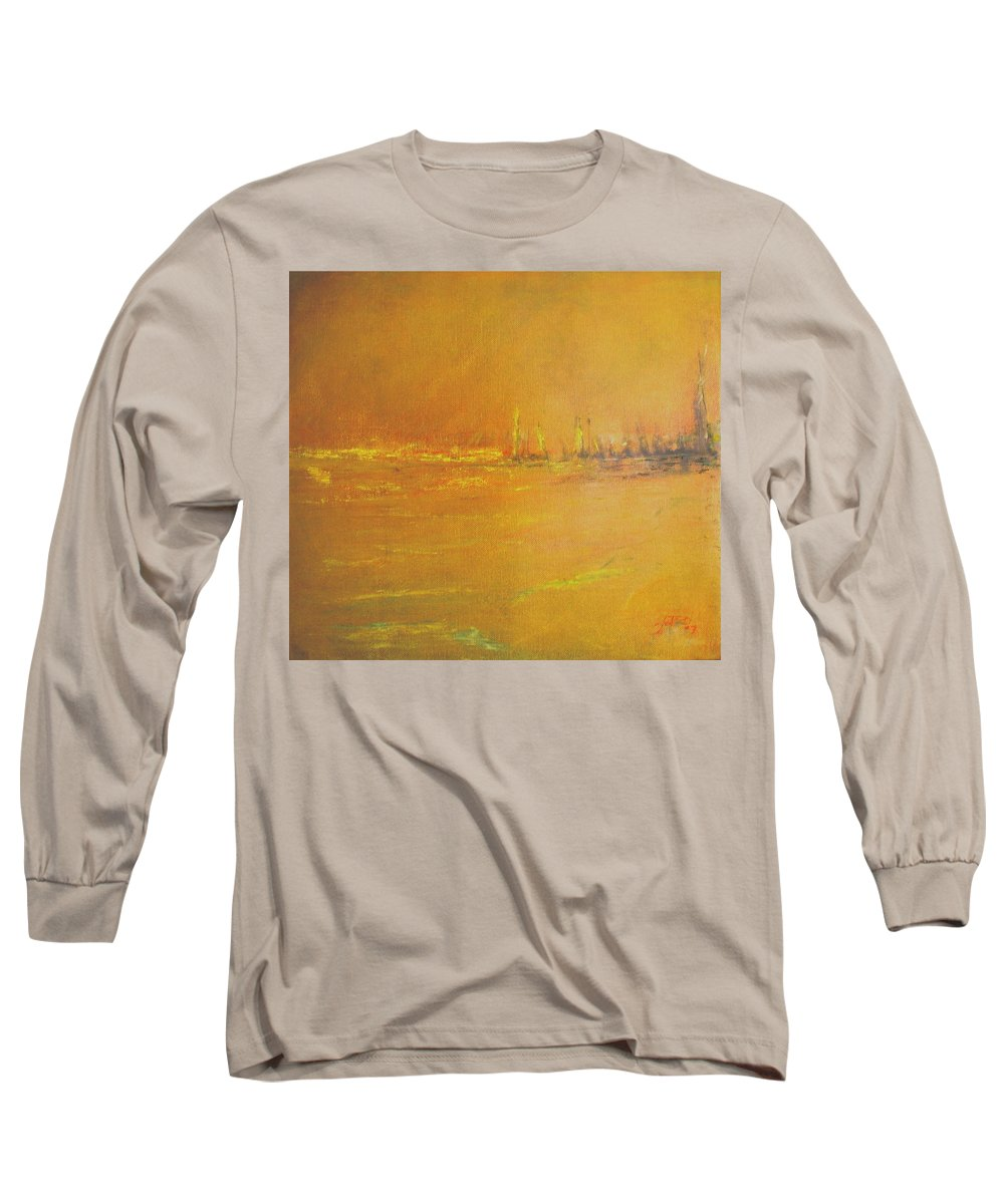 Ships Long Sleeve T-Shirt featuring the painting Golden Sky by Jack Diamond