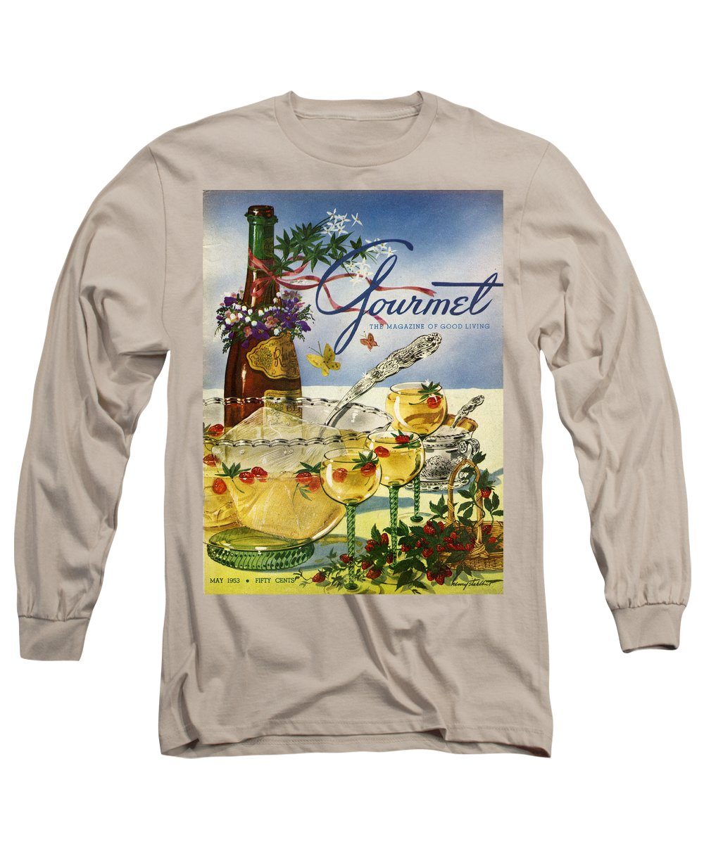 Illustration Long Sleeve T-Shirt featuring the photograph Gourmet Cover Featuring A Bowl And Glasses by Henry Stahlhut