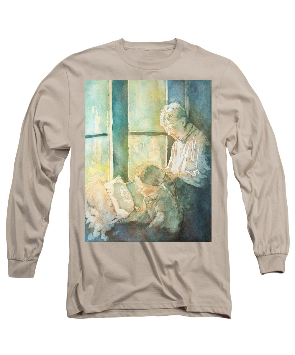 Family Long Sleeve T-Shirt featuring the painting Gramdma Braids by Jenny Armitage