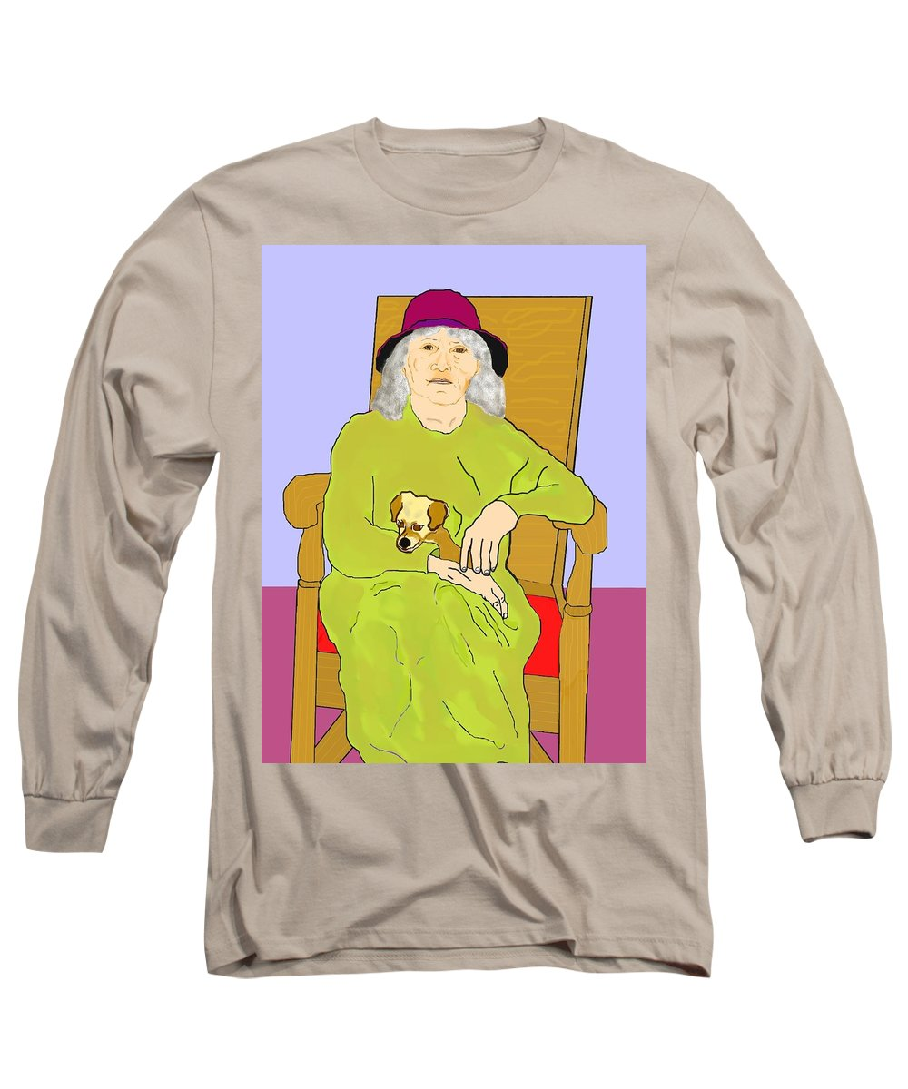 Grandmother Long Sleeve T-Shirt featuring the painting Grandma And Puppy by Pharris Art