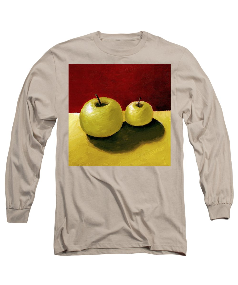 Apple Long Sleeve T-Shirt featuring the painting Granny Smith Apples by Michelle Calkins