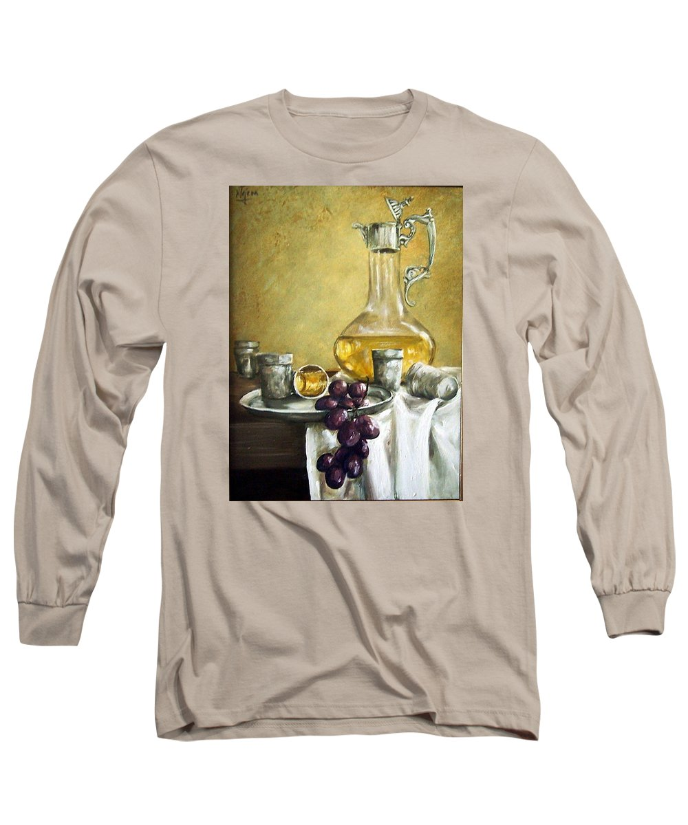 Still Life Cristal Bottle Grapes Fruits Glass Long Sleeve T-Shirt featuring the painting Grapes And Cristals by Natalia Tejera