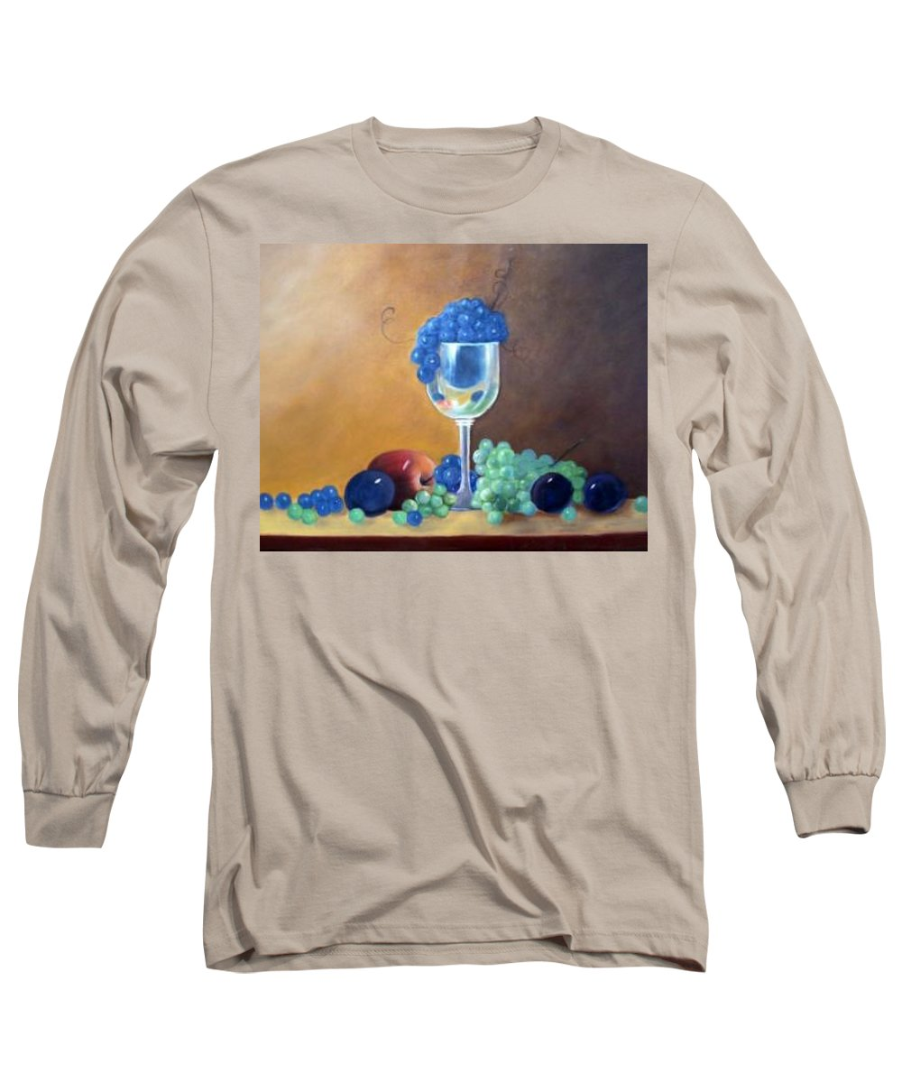 Wine Galsses With Grapes Long Sleeve T-Shirt featuring the painting Grapes And Plums by Susan Dehlinger