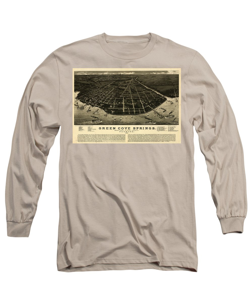 Bird's Eye View Long Sleeve T-Shirt featuring the painting Green Cove Springs, County Seat Of Clay County, Florida by Norris
