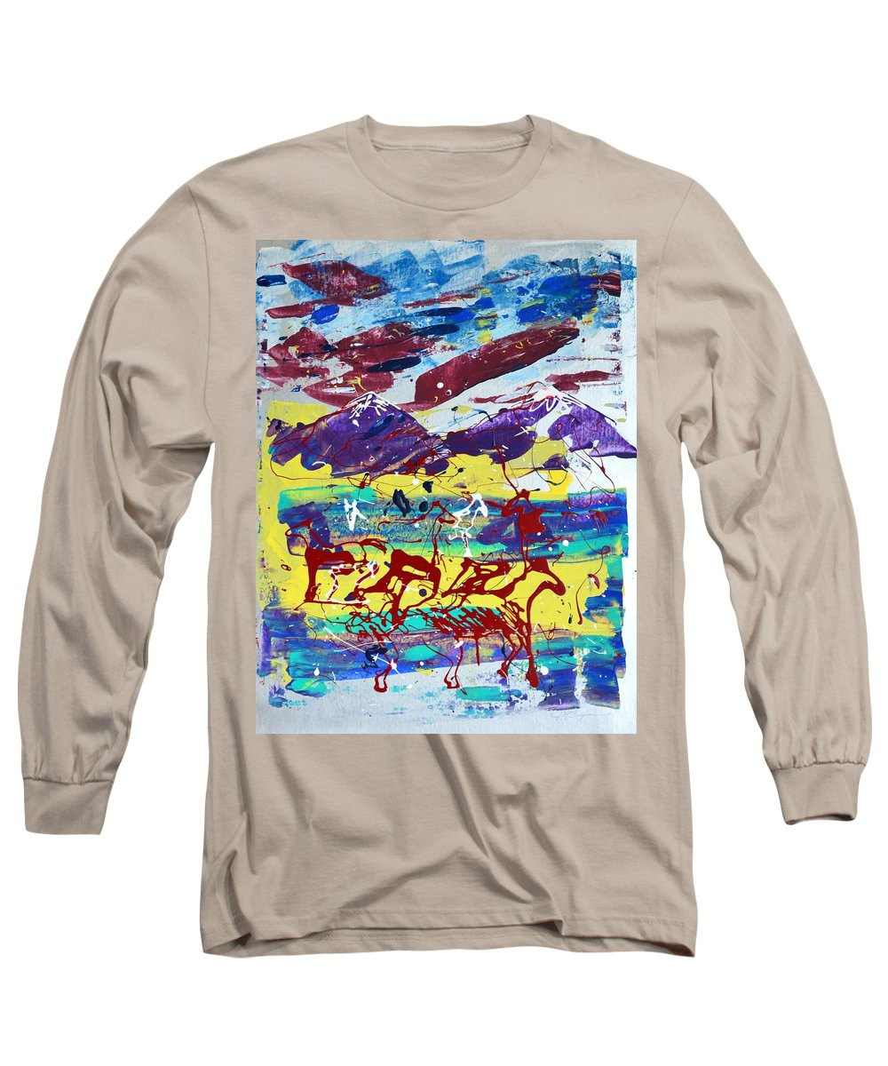 Horses Grazing Long Sleeve T-Shirt featuring the painting Green Pastures And Purple Mountains by J R Seymour