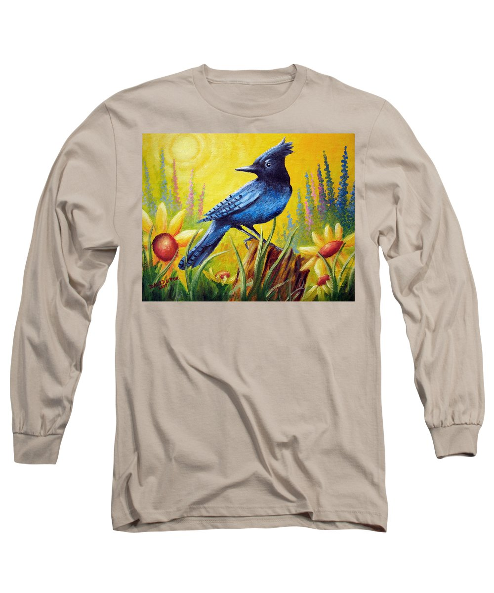 Bird Long Sleeve T-Shirt featuring the painting Greeting The Day by David G Paul