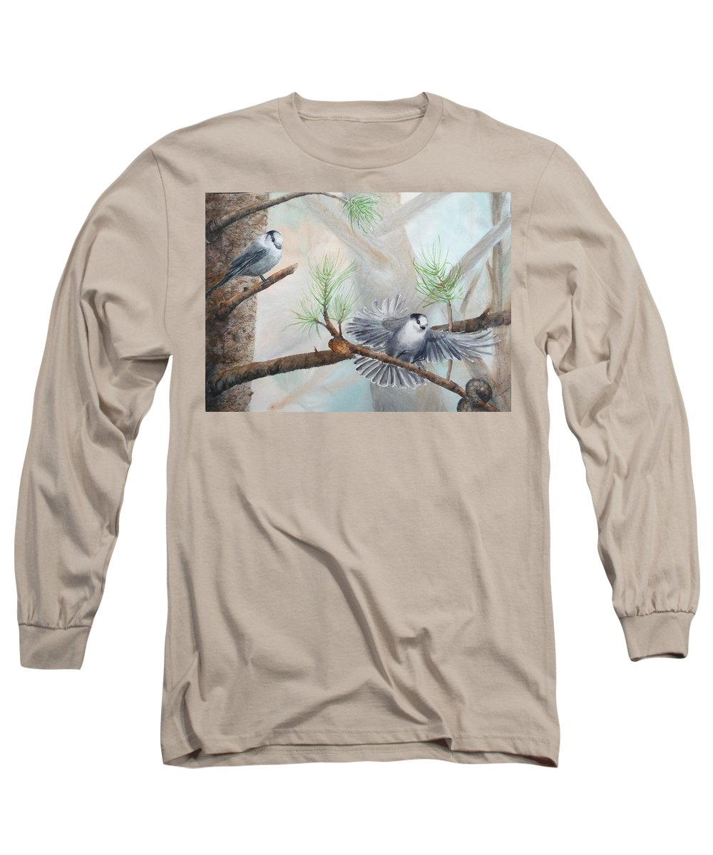 Grey Jay Long Sleeve T-Shirt featuring the painting Grey Jays In A Jack Pine by Ruth Kamenev