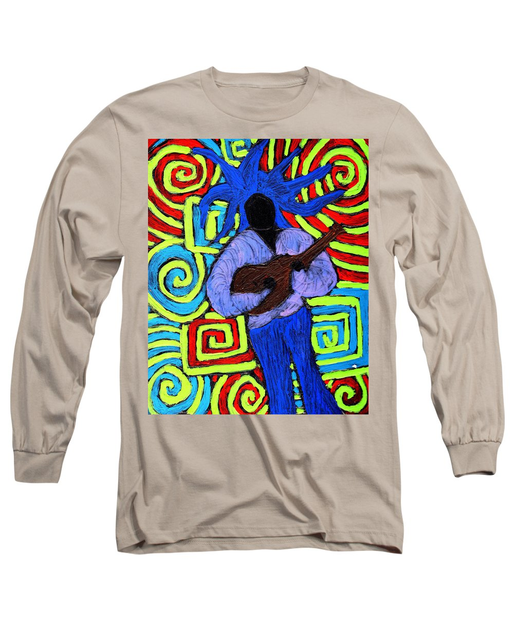 Music Long Sleeve T-Shirt featuring the painting Guitar Solo by Wayne Potrafka