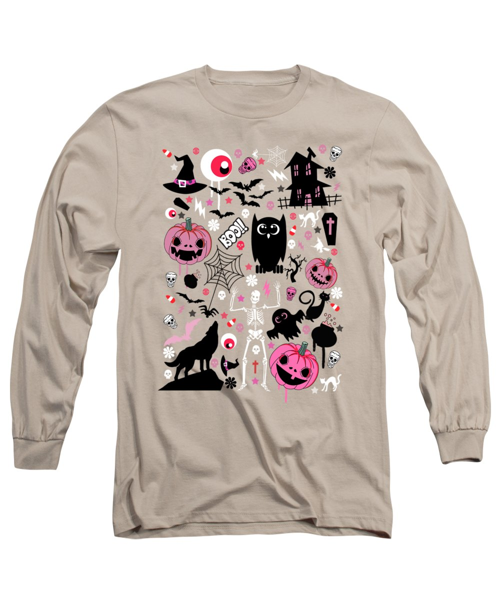 Pattern Long Sleeve T-Shirt featuring the painting Halloween Night by Mark Ashkenazi