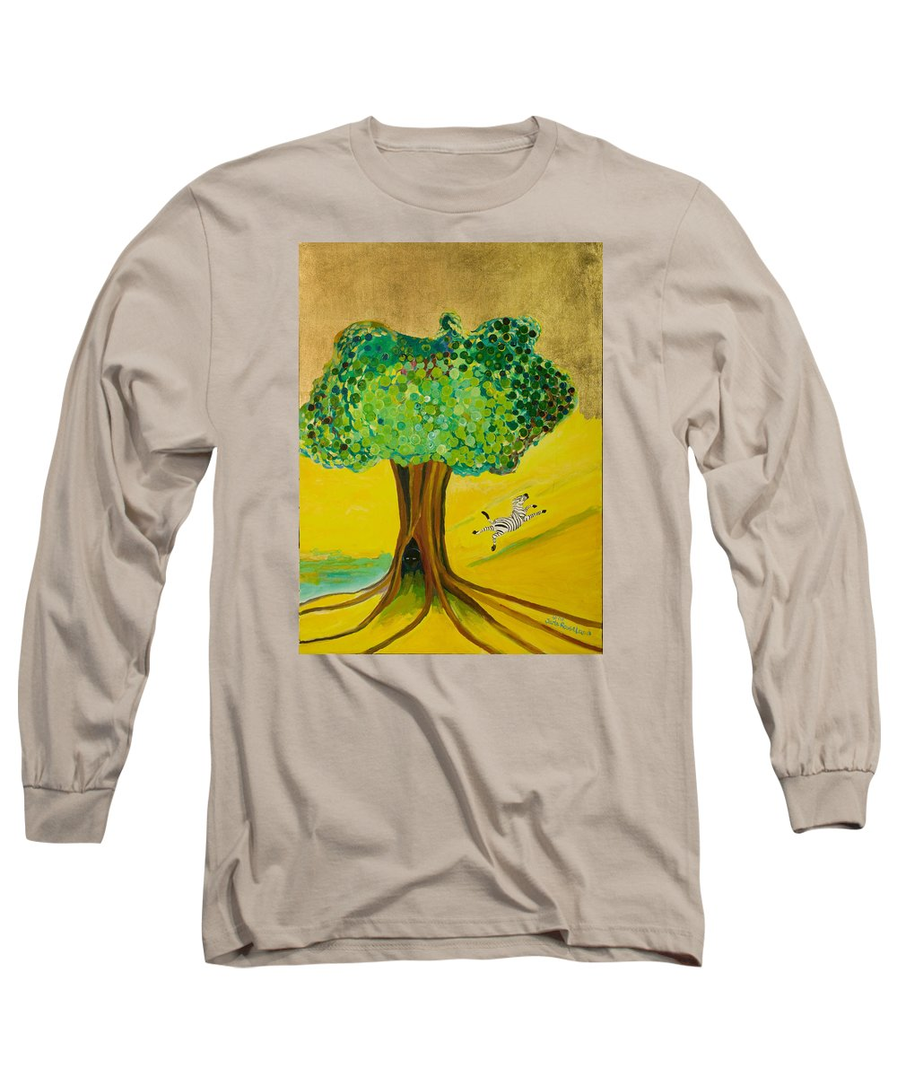Landscape Long Sleeve T-Shirt featuring the painting Happiness by Jarle Rosseland