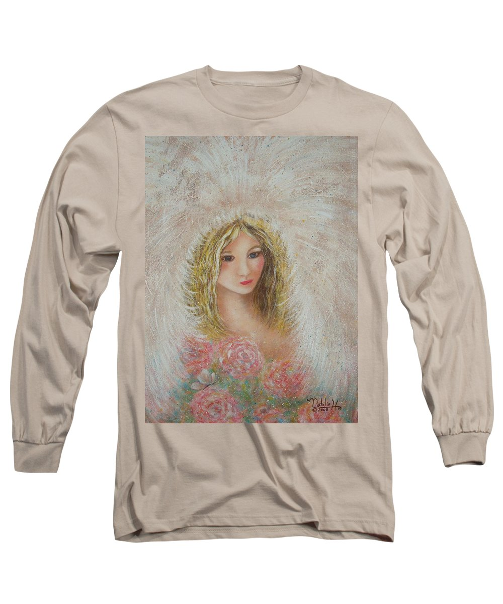 Angel Long Sleeve T-Shirt featuring the painting Heavenly Angel by Natalie Holland