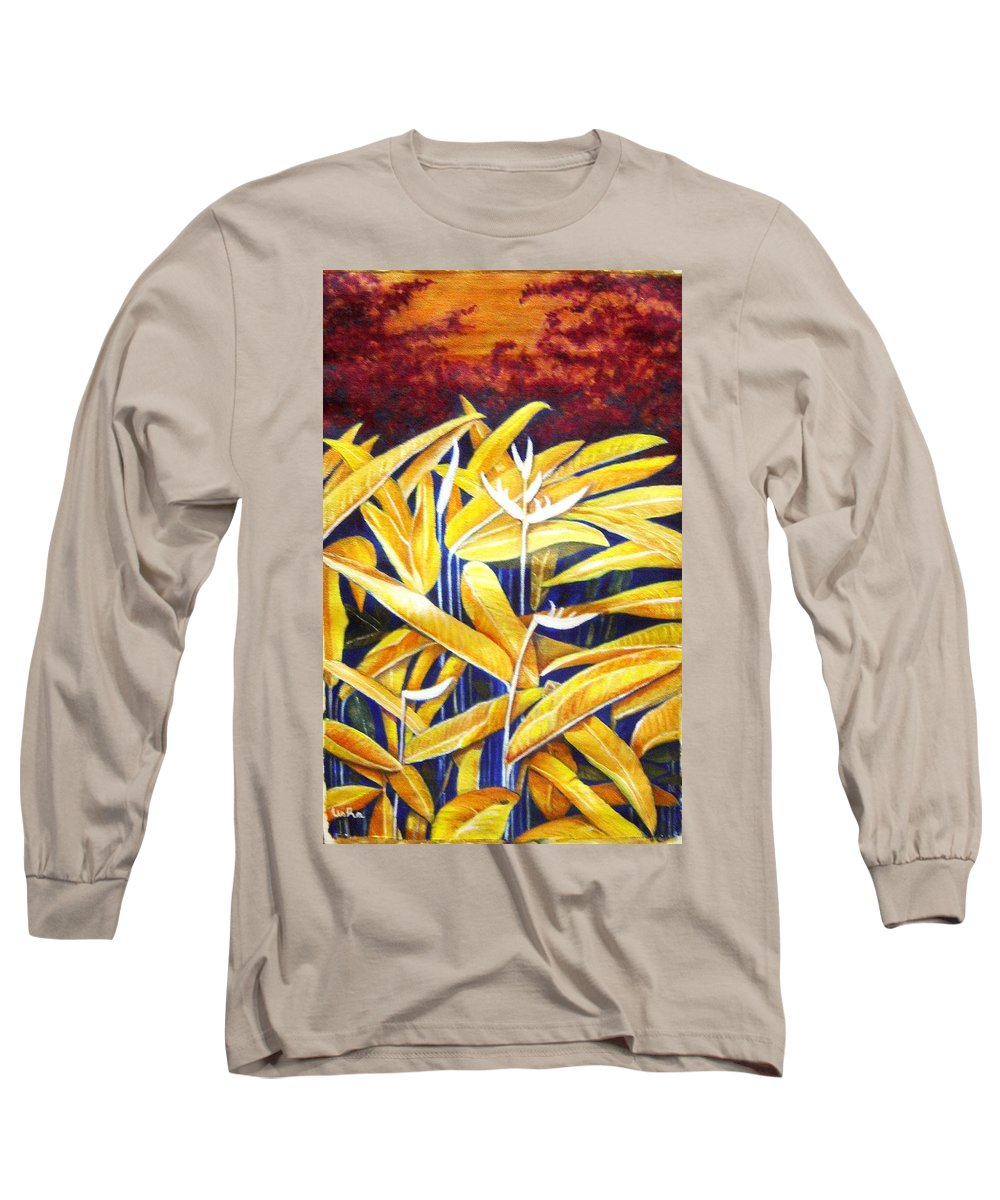 Heliconia Long Sleeve T-Shirt featuring the painting Heliconia by Usha Shantharam