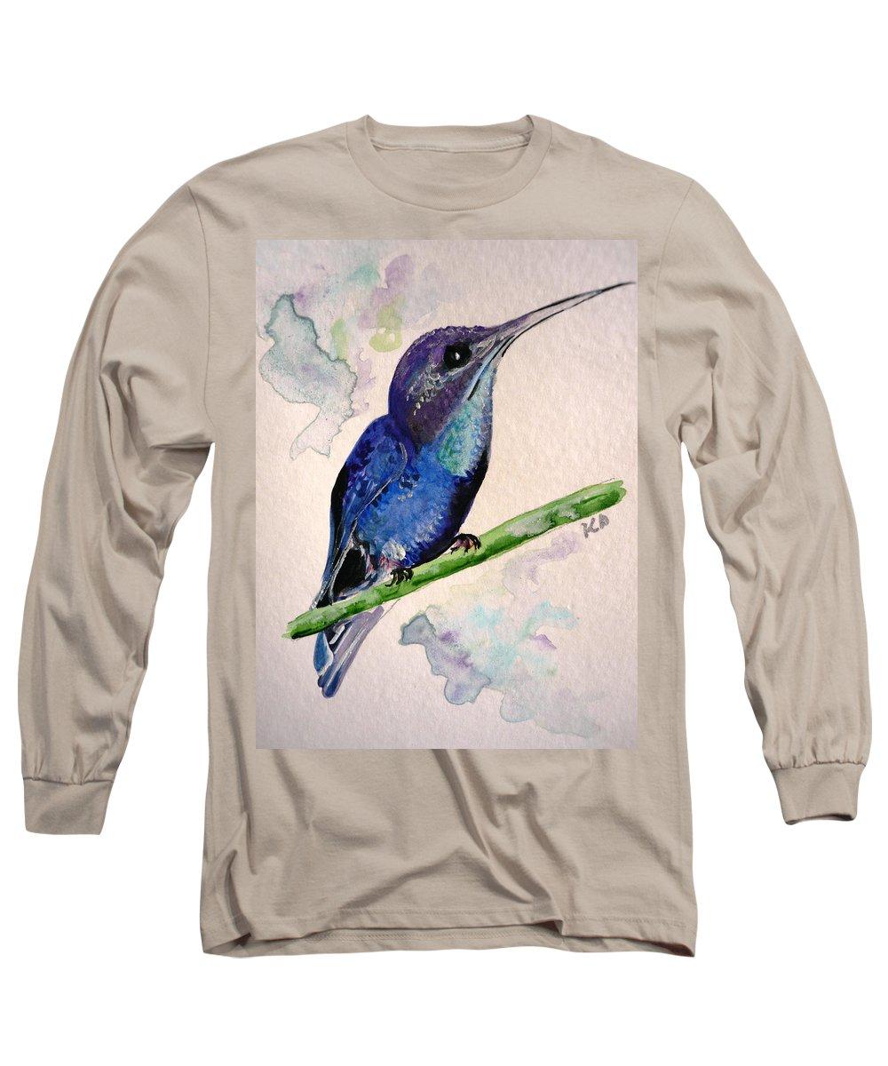 Hummingbird Painting Bird Painting Tropical Caribbean Painting Watercolor Painting Long Sleeve T-Shirt featuring the painting hHUMMINGBIRD 2  by Karin Dawn Kelshall- Best