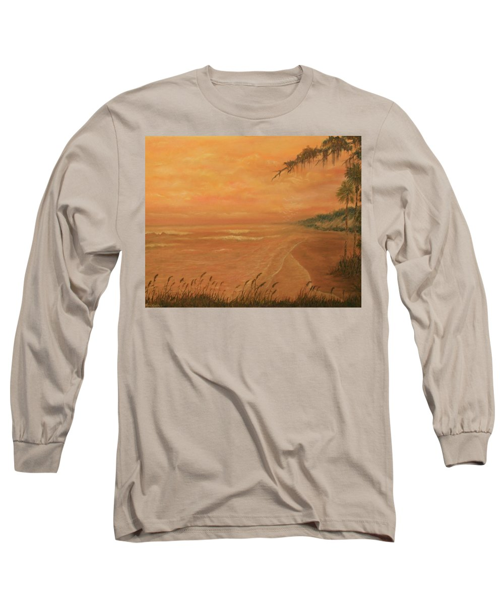 Beach; Ocean; Palm Trees; Water Long Sleeve T-Shirt featuring the painting High Tide by Ben Kiger