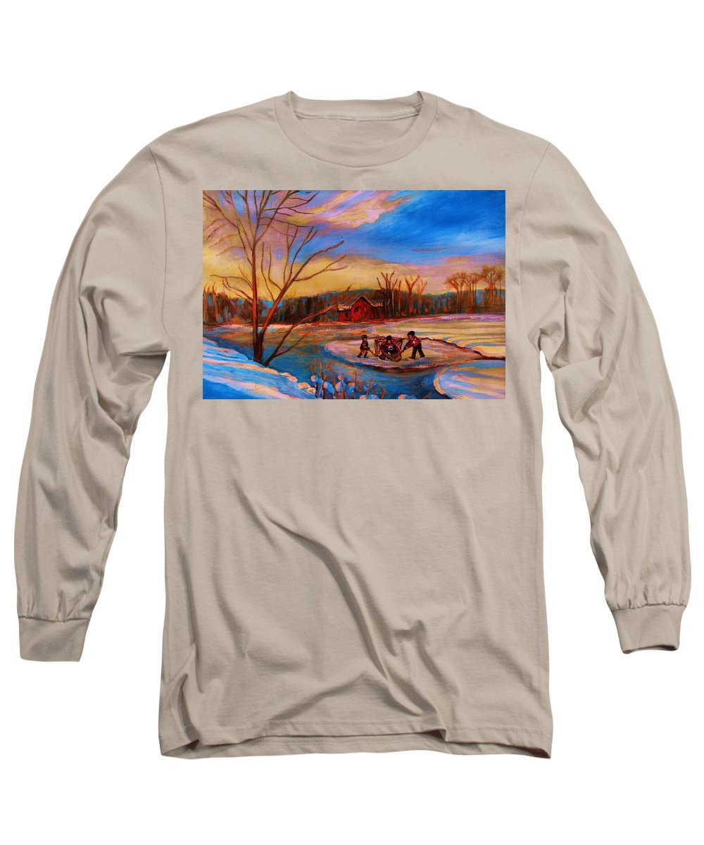 Pond Hockey Long Sleeve T-Shirt featuring the painting Hockey Game On Frozen Pond by Carole Spandau