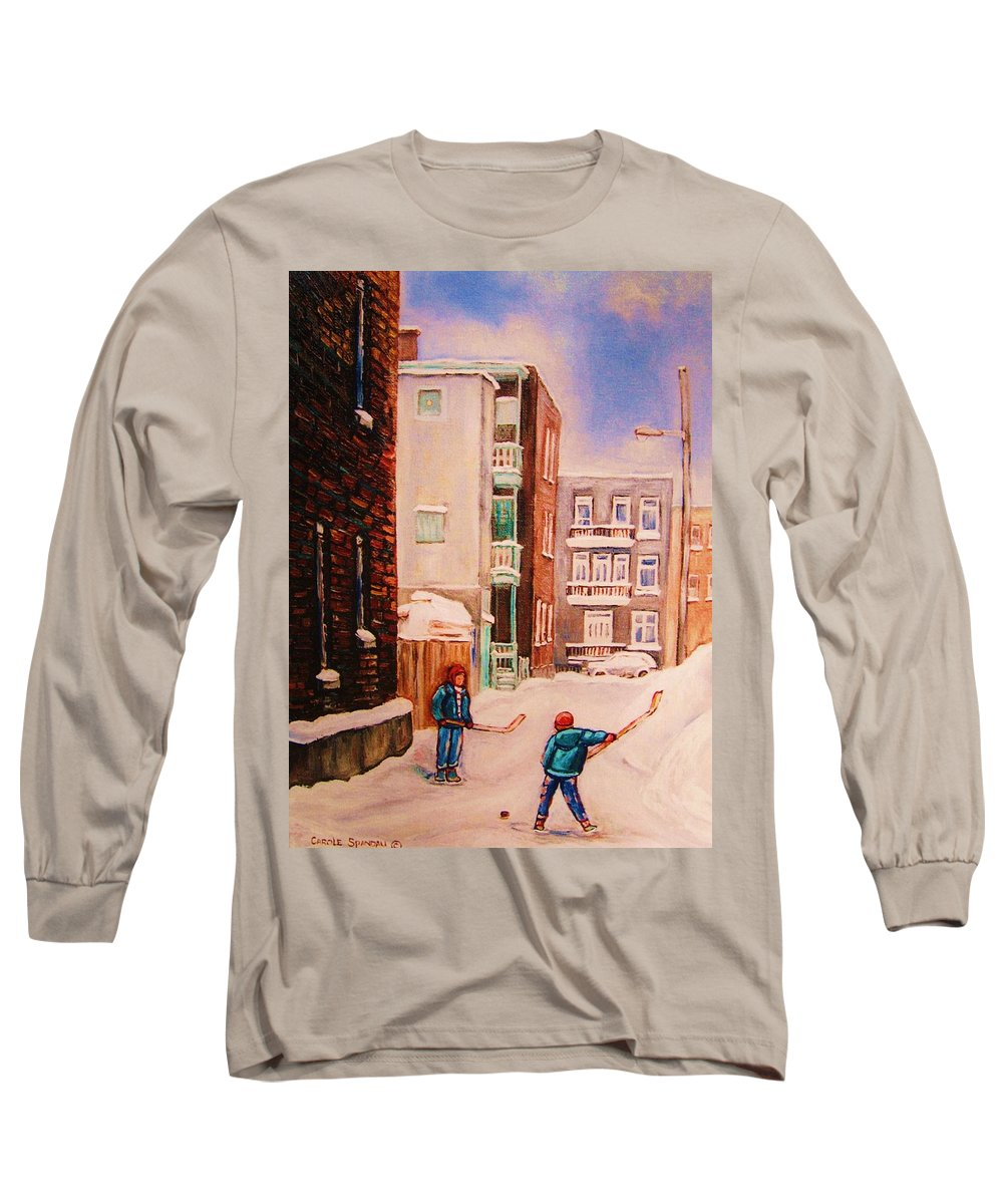 Hockey Long Sleeve T-Shirt featuring the painting Hockey Practice by Carole Spandau