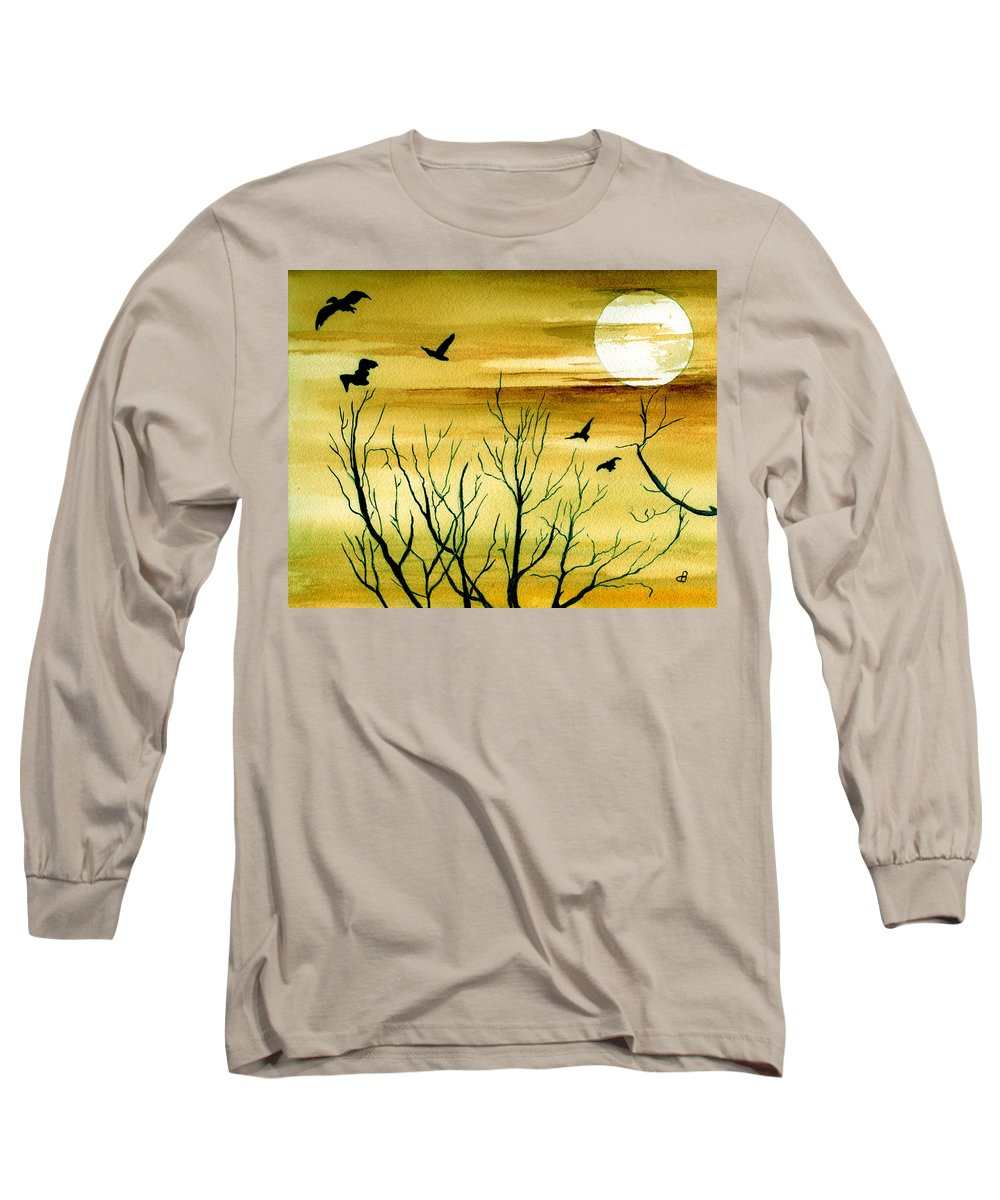 Landscape Watercolor Birds Ravens Crows Trees Sun Sunset Sky Clouds Long Sleeve T-Shirt featuring the painting Homeward by Brenda Owen