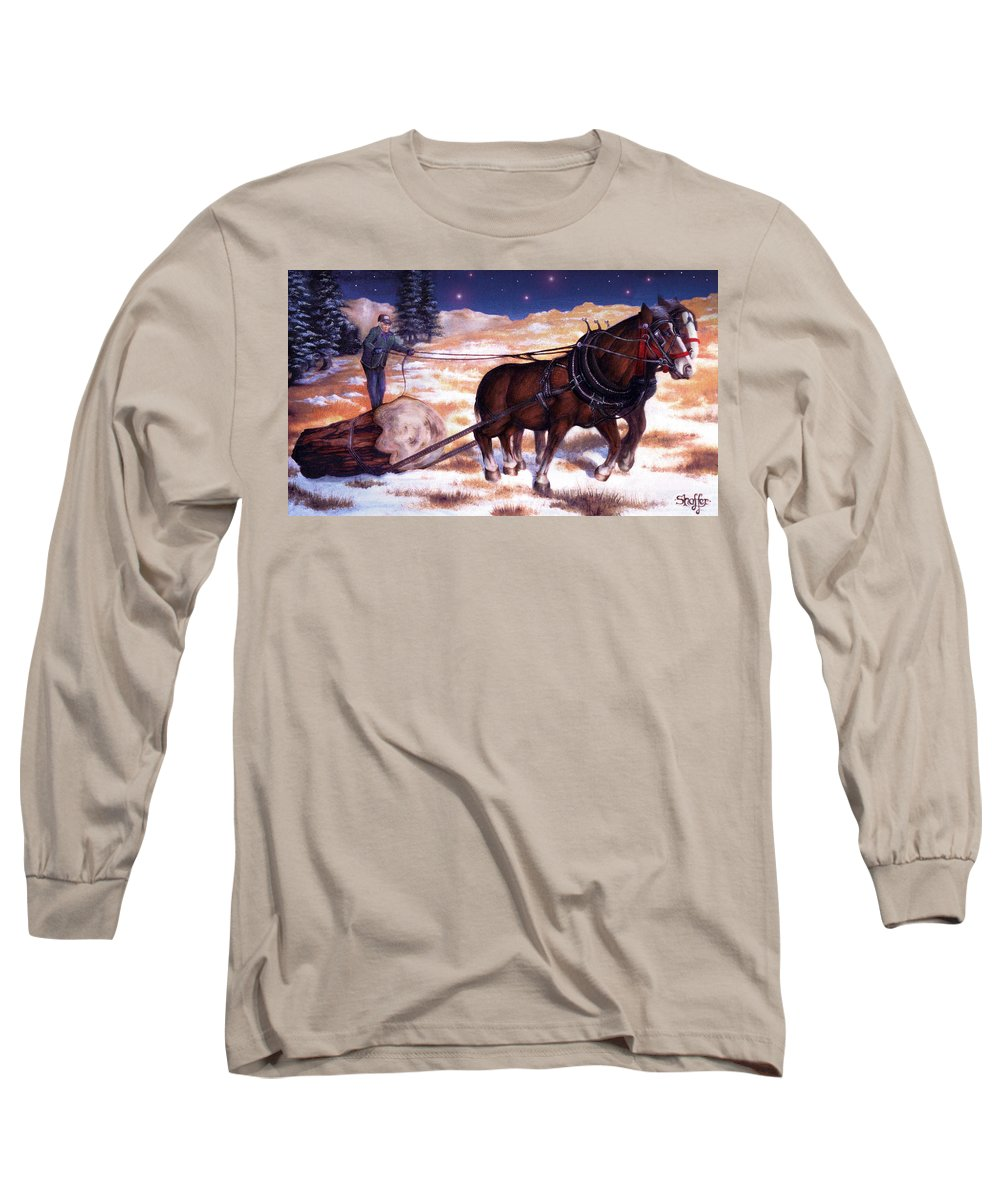 Horse Long Sleeve T-Shirt featuring the painting Horses Pulling Log by Curtiss Shaffer