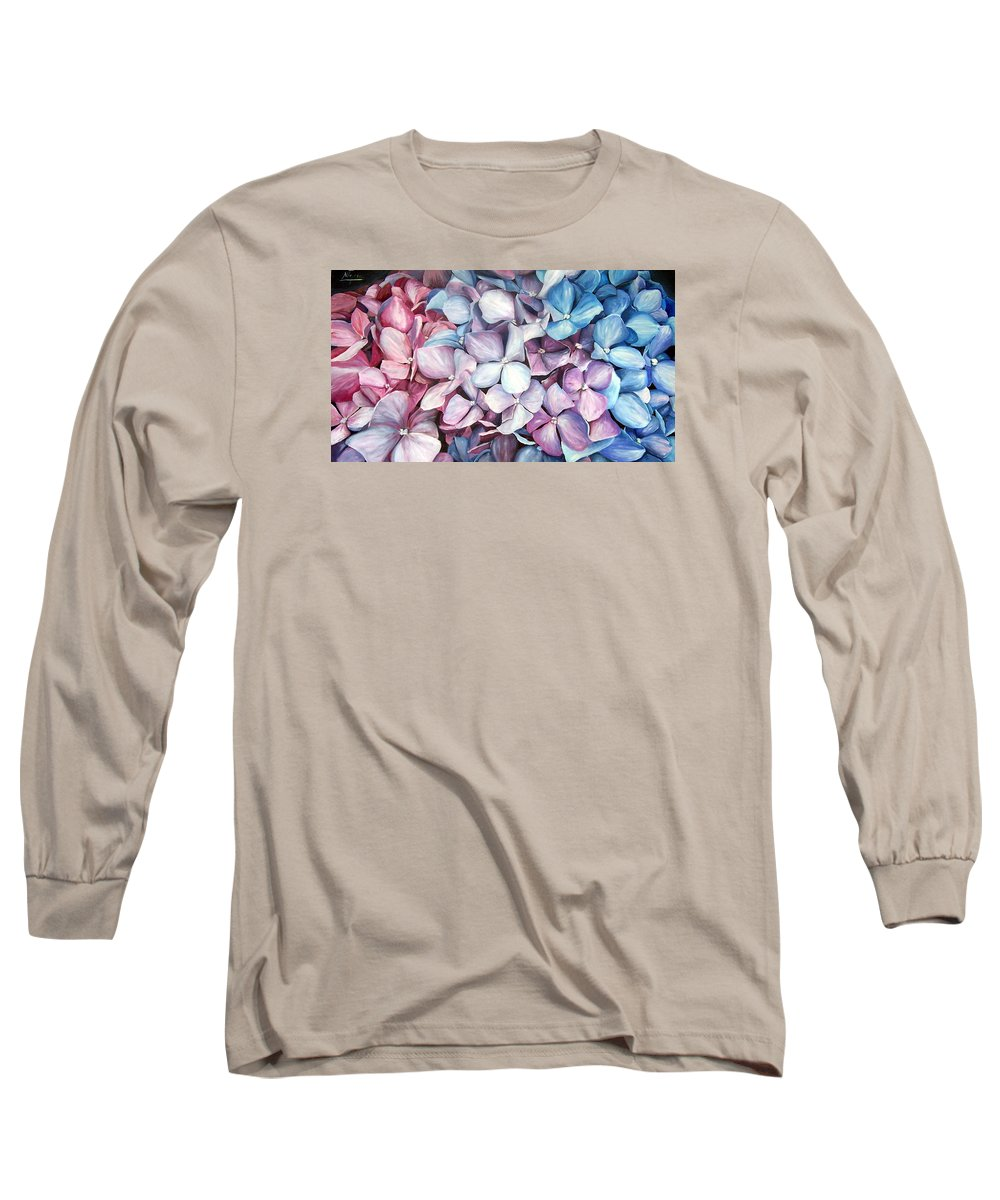 Flowers Nature Blue Violet Macro Long Sleeve T-Shirt featuring the painting Hortensias by Natalia Tejera