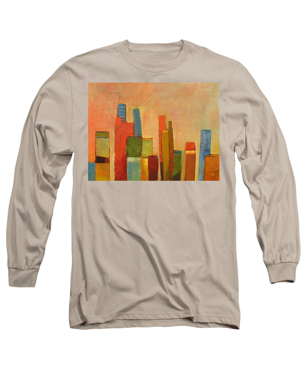 Abstract Cityscape Long Sleeve T-Shirt featuring the painting Hot Manhattan by Habib Ayat
