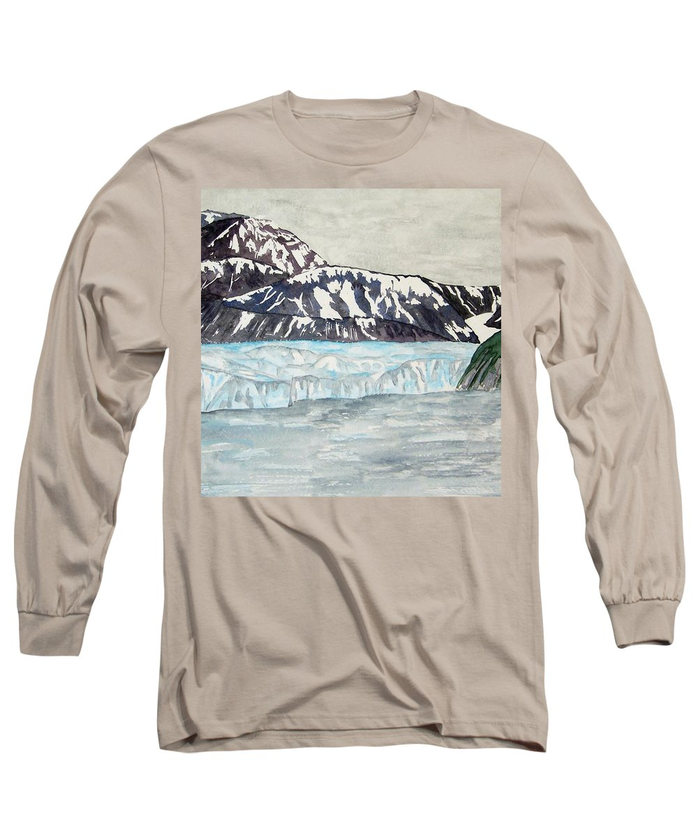 Glacier Long Sleeve T-Shirt featuring the painting Hubbard Glacier In July by Larry Wright