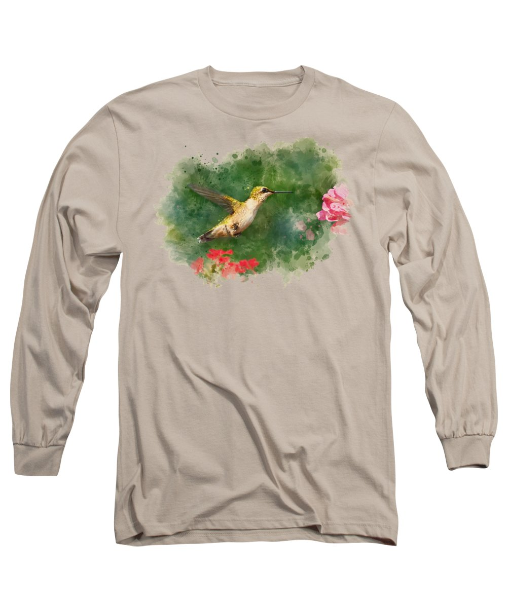 Hummingbird Long Sleeve T-Shirt featuring the mixed media Hummingbird - Watercolor Art by Christina Rollo