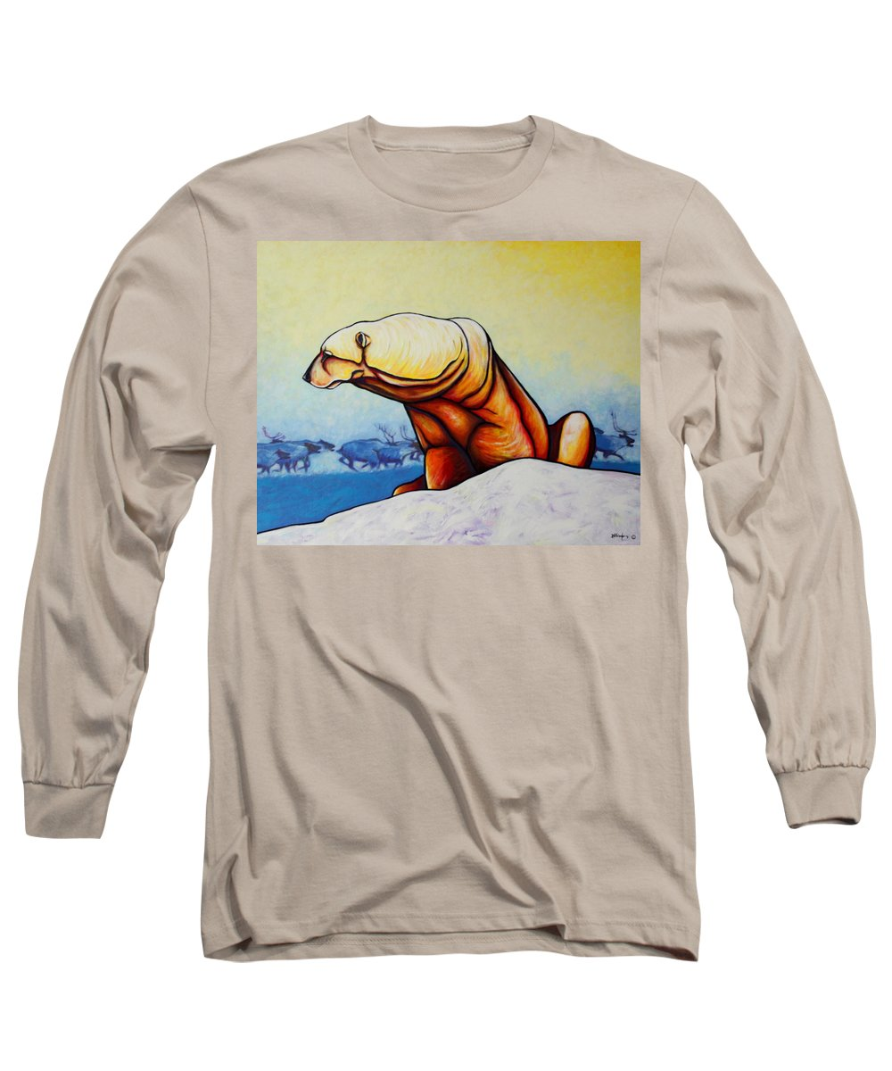 Wildlife Long Sleeve T-Shirt featuring the painting Hunger Burns - Polar Bear And Caribou by Joe Triano