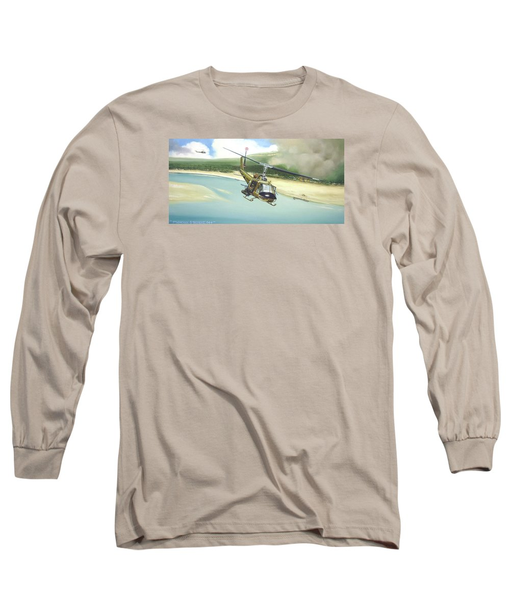 Military Long Sleeve T-Shirt featuring the painting Hunter Hueys by Marc Stewart