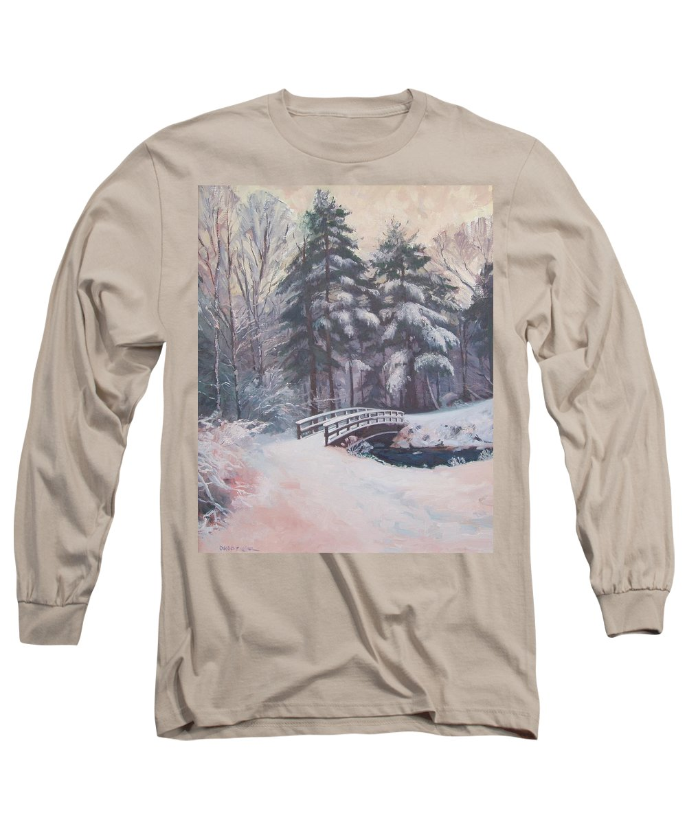 Landscape Long Sleeve T-Shirt featuring the painting Icy Stream by Dianne Panarelli Miller