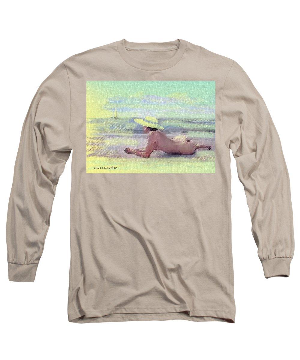 Original Art Long Sleeve T-Shirt featuring the pastel Imagine by Gina De Gorna