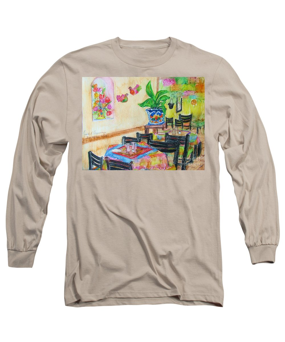 Watercolor Long Sleeve T-Shirt featuring the painting Indoor Cafe - Gifted by Judith Espinoza