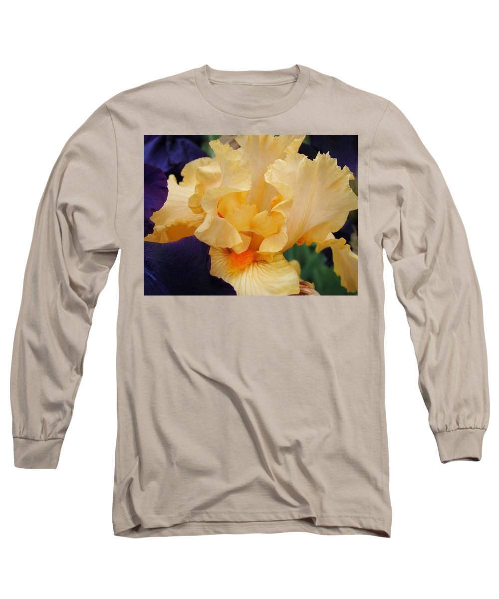 �irises Artwork� Long Sleeve T-Shirt featuring the photograph Irises Art Prints Peach Iris Flowers Artwork Floral Botanical Art Baslee Troutman by Baslee Troutman