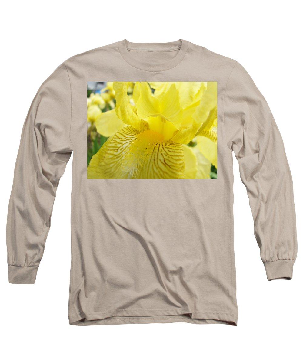�irises Artwork� Long Sleeve T-Shirt featuring the photograph Irises Yellow Brown Iris Flowers Irises Art Prints Baslee Troutman by Baslee Troutman