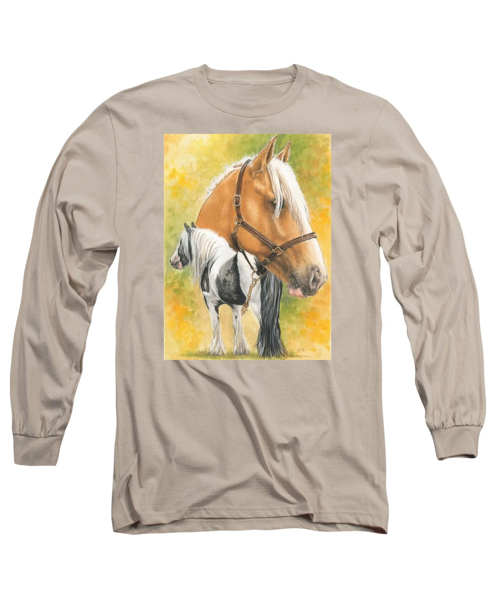 Draft Horse Long Sleeve T-Shirt featuring the mixed media Irish Cob by Barbara Keith