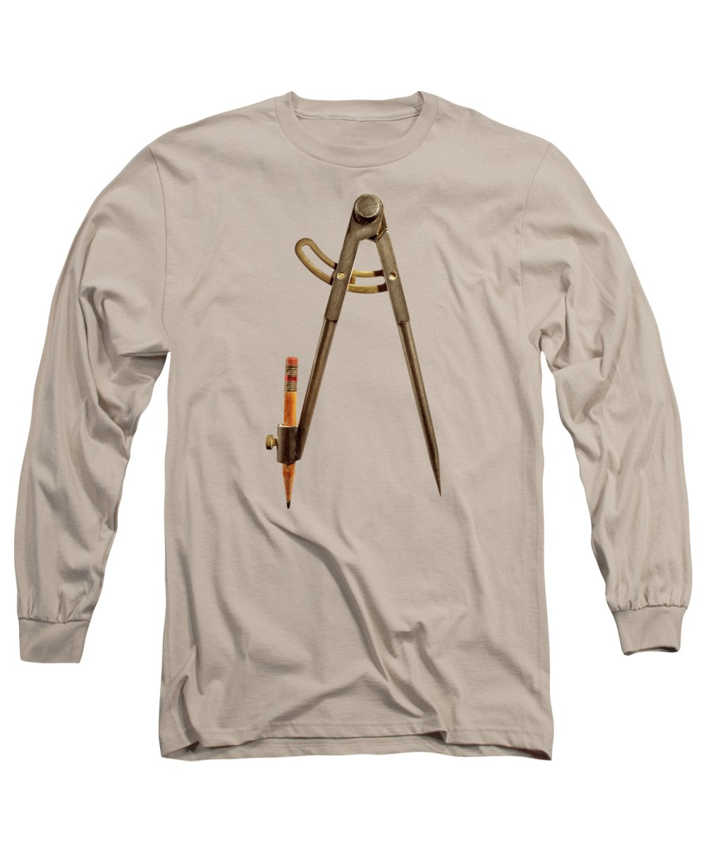 Industry Long Sleeve T-Shirt featuring the photograph Iron Compass Back Split Color Paper by YoPedro