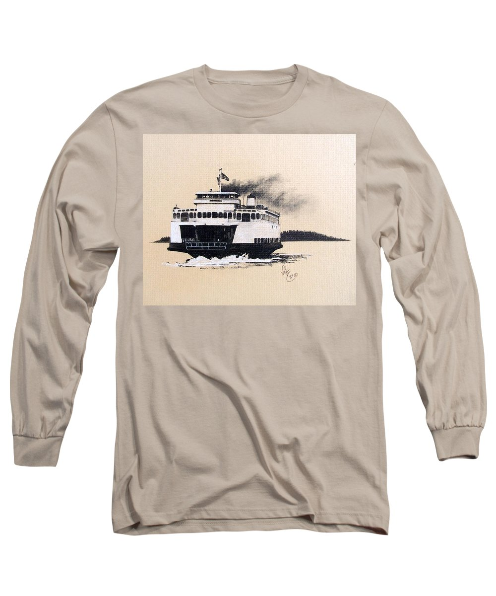 Ferry Long Sleeve T-Shirt featuring the pastel Issaquah by Gale Cochran-Smith