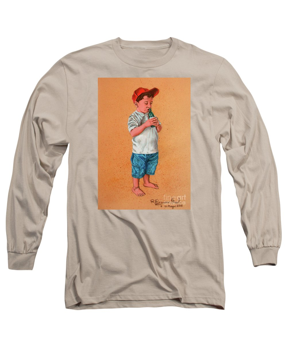 Summer Long Sleeve T-Shirt featuring the painting It's A Hot Day - Es Un Dia Caliente by Rezzan Erguvan-Onal