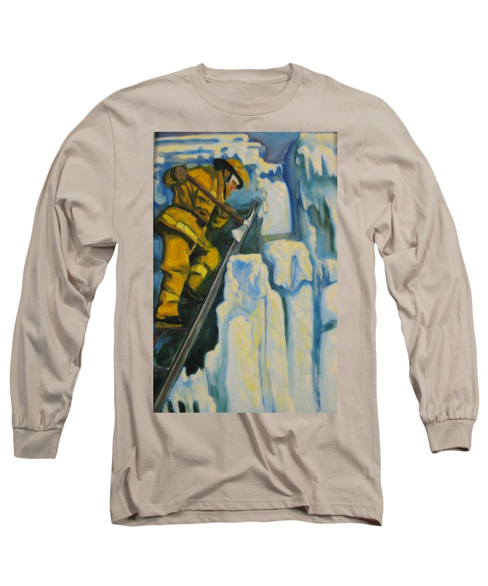 Firefighters Long Sleeve T-Shirt featuring the painting Its Not Over Till Its Over by John Malone