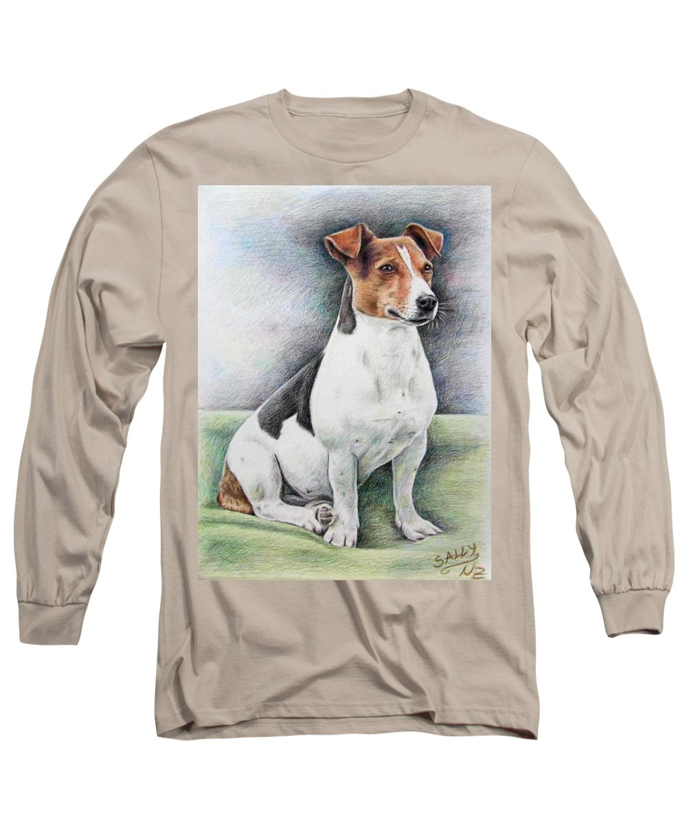 Dog Long Sleeve T-Shirt featuring the drawing Jack Russell Terrier by Nicole Zeug