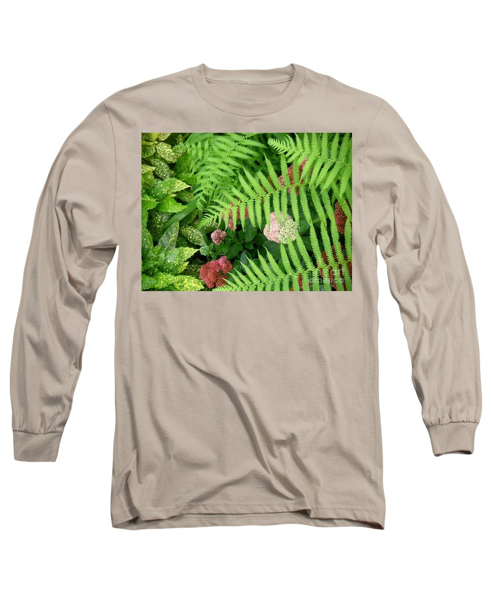 Nature Long Sleeve T-Shirt featuring the photograph Jacqueline's Garden - Camaraderie Of Textures by Lucyna A M Green